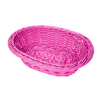 GET WB-1503-PI 9 inch x 6 3/4 inch x 2 1/2 inch Designer Polyweave Pink Oval Basket - 12 / Case
