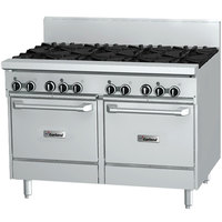 Garland GFE48-6G12LL Natural Gas 6 Burner 48 inch Range with Flame Failure Protection and Electric Spark Ignition, 12 inch Griddle, and 2 Space Saver Ovens - 240V, 238,000 BTU