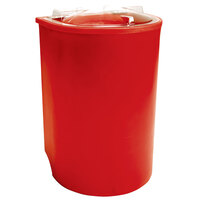 Red Iceberg 500 Insulated Portable Beverage Cooler / Merchandiser with Lid and Drain and Semicircular Design 60 Qt.