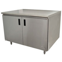 Advance Tabco HB-SS-363 36 inch x 36 inch 14 Gauge Enclosed Base Stainless Steel Work Table with Hinged Doors