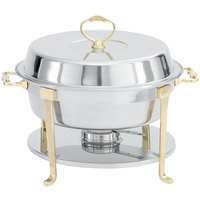 Vollrath 46030 5.8 qt. Classic Brass Trim Round Chafer