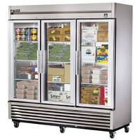 True TS-72FG-LD 78 inch Stainless Steel Three Section Glass Door Reach In Freezer with LED Lighting - 72 Cu. Ft.