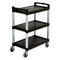 Continental 5810BK Black Three Shelf Utility Cart - 16 inch x 31 inch x 36 inch