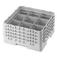 Cambro 9S800151 Soft Gray Camrack 9 Compartment 8 1/2 inch Glass Rack