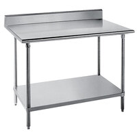 Advance Tabco KSS-364 36 inch x 48 inch 14 Gauge Work Table with Stainless Steel Undershelf and 5 inch Backsplash