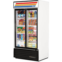 True GDM-33-LD White Glass Sliding Door Merchandiser with LED Lighting - 33 Cu. Ft.