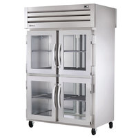 True STG2RPT-4HG-2S Specification Series Two Section Pass-Through Refrigerator with Glass Half Front Doors and Solid Full Rear Doors - 56 Cu. Ft.