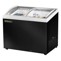 True TFM-41AL Black Angled Glass Lid Horizontal Freezer - 9.9 Cu. Ft.