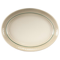 Homer Laughlin 1430-0352 Green Jade Gothic 11 1/2 inch Off White Oval Platter - 12/Case