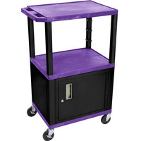 Luxor WT2642PC2E-B Purple Tuffy Two Shelf Adjustable Height A/V Cart with Locking Cabinet - 18 inch x 24 inch