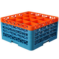 Carlisle RG16-4C412 OptiClean 16 Compartment Glass Rack with 4 Color-Coded Extenders - Orange / Carlisle Blue