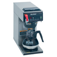 Bunn 12950.0293 CWTF15-1 Automatic 12 Cup Coffee Brewer with 1 Lower Warmer and Black Plastic Funnel - 120V