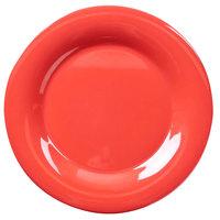 10 1/2 inch Orange Wide Rim Melamine Plate - 12/Pack
