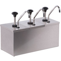 Carlisle 386230IB 3 Stainless Steel Pump Insulated Dispenser with 2 Ice Packs