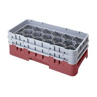 Cambro 17HS1114416 Camrack 11 3/4 inch High Cranberry 17 Compartment Half Size Glass Rack