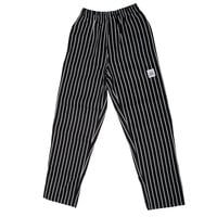 Chef Revival P040WS Size XL Black EZ Fit Chef Pants with White Pinstripes - Poly-Cotton Blend
