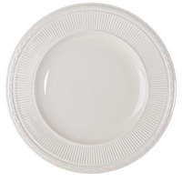 Embossed Rim American White (Ivory / Eggshell) 11 3/8 inch China Plate - 12 / Case