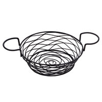 American Metalcraft BNBB83 Round Birdnest Black Metal Basket with 2 Ramekin Holders - 8 inch x 3 5/8 inch