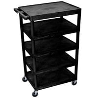 Luxor / H. Wilson BC55 Black 5 Shelf Serving Cart - 24 inch x 32 inch x 49 inch