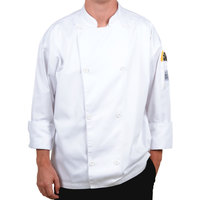 Chef Revival J002-M Knife and Steel Size 42 (M) White Customizable Long Sleeve Chef Jacket - Poly-Cotton Blend