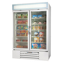 Beverage Air MMF49-1-W-LED White Marketmax 2 Glass Door Merchandising Freezer with LED Lighting and Swing Doors - 49 Cu. Ft.