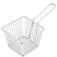 "4"" Square Stainless Steel Mini Fry Basket"