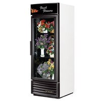True GDM-23FC-RF-LD White Glass Door Floral Case with Radius Front - 23 Cu. Ft.