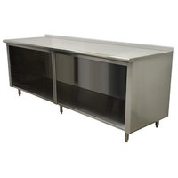 Advance Tabco EF-SS-2410 24 inch x 120 inch 14 Gauge Open Front Cabinet Base Work Table with 1 1/2 inch Backsplash
