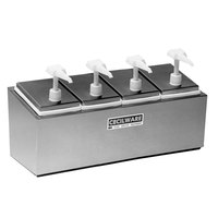 Cecilware 444E Economy Pumps Stainless Steel Condiment Rail with Four Plastic Pumps, Jars, and Covers