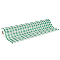 40 inch x 300' Table Cover with Green Gingham Pattern