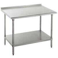 Advance Tabco FLAG-246-X 24 inch x 72 inch 16 Gauge Stainless Steel Work Table with 1 1/2 inch Backsplash and Galvanized Undershelf
