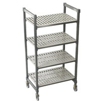 Cambro Camshelving Premium CPMU184267V4480 Mobile Shelving Unit with Premium Locking Casters 18 inch x 42 inch x 67 inch - 4 Shelf