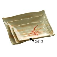 Gold Orchid 11 1/4 inch x 7 1/4 inch Rectangular Melamine Wave Plate - 12 / Pack