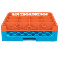 Carlisle RG16-1C412 OptiClean 16 Compartment Orange Color-Coded Glass Rack with 1 Extender