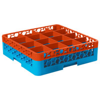 Carlisle RG16-1C412 OptiClean 16 Compartment Glass Rack with 1 Color-Coded Extender - Orange / Carlisle Blue