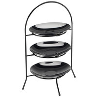 Cal-Mil 977-8-13 Iron Three Tier Black Wire Bowl and Plate Display - 8 3/4 inch x 8 3/4 inch x 18 inch