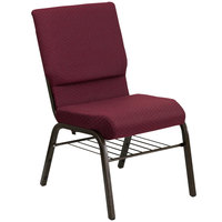 Burgundy Patterned 18 1/2 inch Wide Church Chair with Communion Cup Book Rack - Gold Vein Frame
