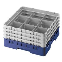 Cambro 9S434186 Blue Camrack 9 Compartment 5 1/4 inch Glass Rack