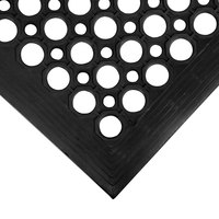Cactus Mat 2530-C5BX VIP TopDek Junior 3' x 5' Black Rubber Anti-Fatigue Floor Mat - 1/2 inch Thick