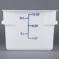 Carlisle 1073402 12 Qt. White Square Carlisle StorPlus Container