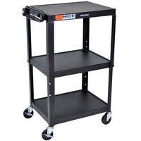 Luxor / H. Wilson AVJ42 Black 3 Shelf A/V Utility Cart 24 inch x 18 inch - Adjustable Height