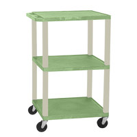 Luxor WT1642E Green Tuffy Open Shelf A/V Cart 18 inch x 24 inch with 3 Shelves - Adjustable Height