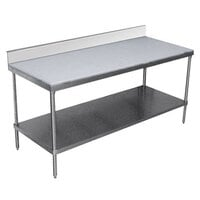 Advance Tabco SPS-246 Poly Top Work Table 24 inch x 72 inch with Undershelf and 6 inch Backsplash