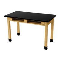 National Public Seating SLT2448-BC 24 inch x 48 inch Science Lab Table with Built-In Book Compartments - 30 inch Height