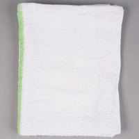 Choice 16 inch x 19 inch Green Striped 32 oz. 100% Cotton Bar Towel - 12 / Pack