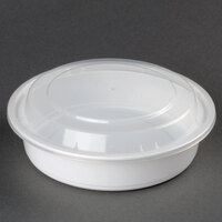 24 oz. White 7 inch Round Microwavable Container with Lid - 150 / Case
