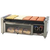 APW Wyott HRS-50BW 35 inch Hot Dog Roller Grill with Tru-Turn Rollers and Bun Drawer - 120V