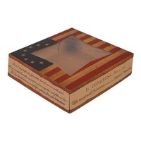 Southern Champion 2484 10 inch x 10 inch x 2 inch Window Cake / Bakery Box with Vintage American Flag / Declaration of Independence Design - 150/Bundle