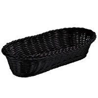 Tablecraft M2418 Black Oblong Rattan Basket 15 inch x 6 1/2 inch x 3 1/4 inch