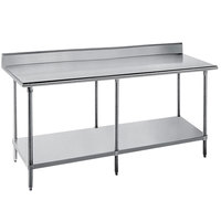Advance Tabco SKG-2411 24 inch x 132 inch 16 Gauge Super Saver Stainless Steel Commercial Work Table with Undershelf and 5 inch Backsplash